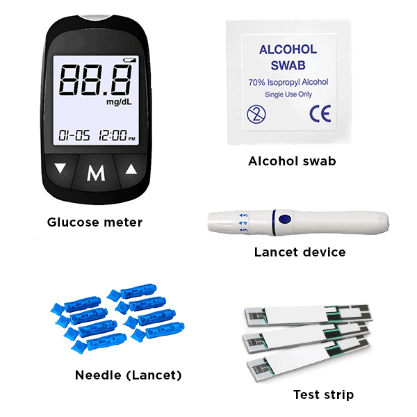 items needed for blood glucose testing